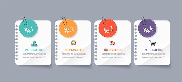 Vier stappen zakelijke infographics