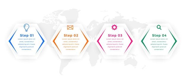 Vier stappen zeshoekig infographic sjabloonontwerp