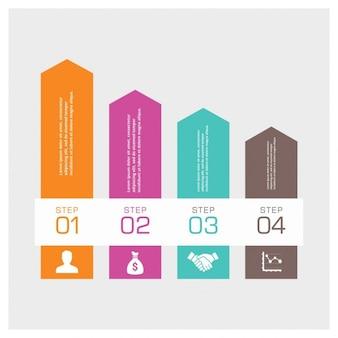 Vier step arrow infographic achtergrond