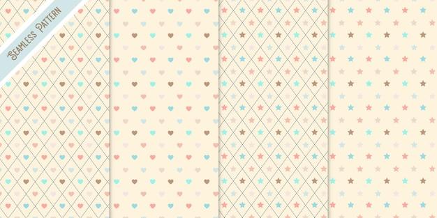 Vier sterren en harten naadloze geplaatste patronen