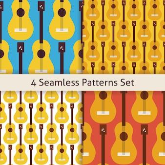 Vier string muziek instrument gitaar patronen set. vlakke stijl vector naadloze textuur achtergrond. muzikale sjabloon. kunst en vermaak. rots en geluid. akoestische gitaar.