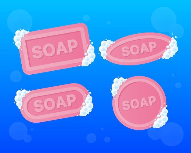 Vier stuk zeep met schuim in vlakke stijl geïsoleerd op blauwe achtergrond. vector illustratie.