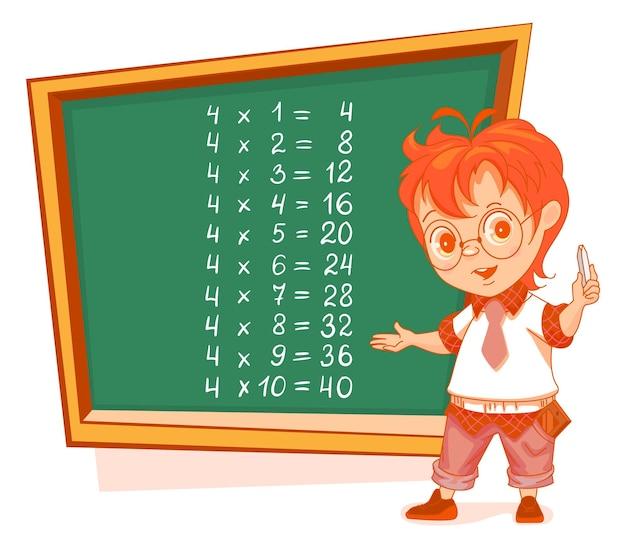 Vier tafel van vermenigvuldiging schooljongen op schoolbord stand
