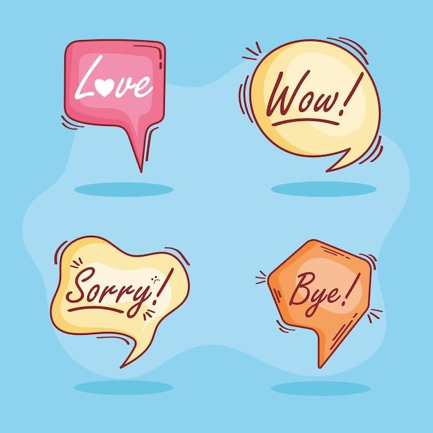 Vier tekstballonnen doodle pictogrammen