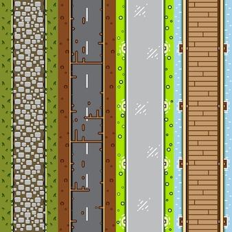 Vier top-down achtergronden voor het maken van een videogame