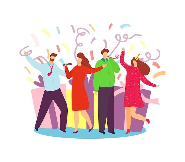 Vier vakantie, vectorillustratie. gelukkig jonge man vrouw mensen karakter veel plezier bij het vieren van feest. vriendengroep staat in de buurt van een enorme geschenkdoos