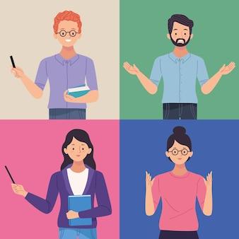 Vier van leraren karakters