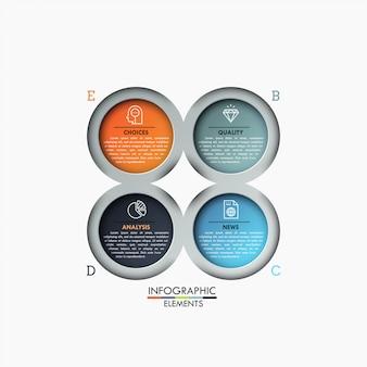 Vier veelkleurige cirkelvormige elementen met binnen pictogrammen en tekstvakken, 4 stappen van bedrijfsanalyseconcept.