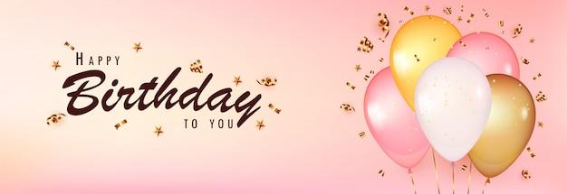 Vier verjaardagssjabloon. roze achtergrond met realistische ballonnen met gouden confetti.