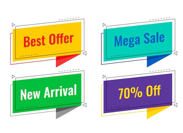 Vier verkooplabels in stijl van de praatjebel