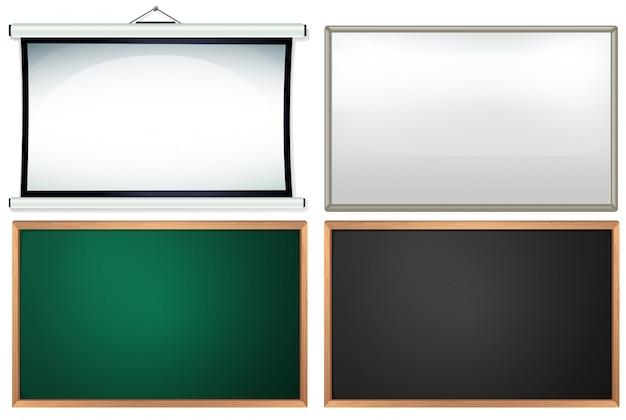 Vier verschillende borden en frames