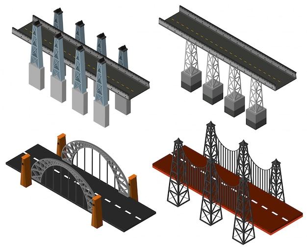 Vier verschillende brugontwerpen