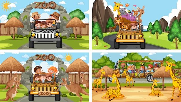 Vier verschillende dierentuinscènes met kinderen en dieren