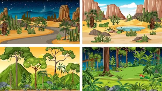 Vier verschillende horizontale natuurscènes
