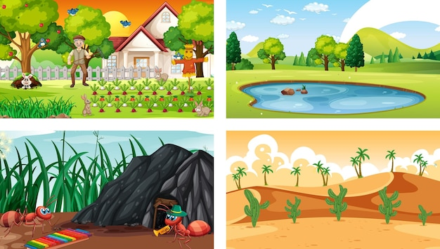 Vier verschillende natuur horizontale scènes