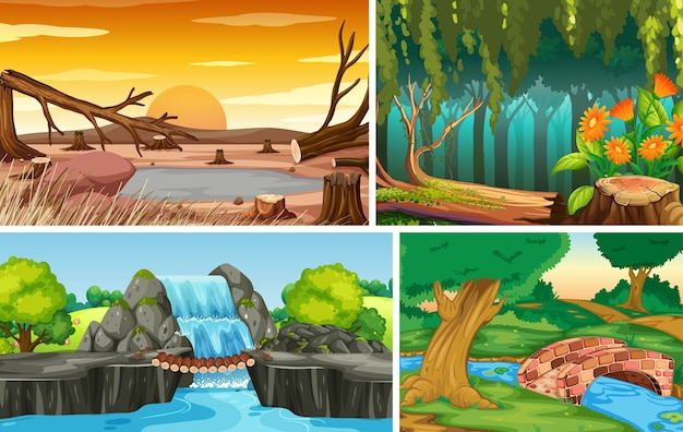 Vier verschillende natuurscènes van bos en water vallen cartoon-stijl