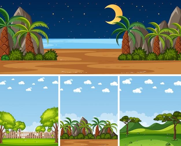 Vier verschillende natuurtaferelen als achtergrond met groene bomen in verschillende tijden