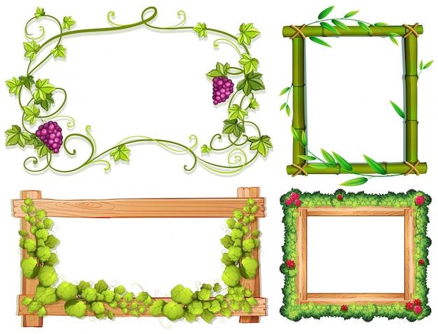 Vier verschillende ontwerpen van frames met groene bladeren