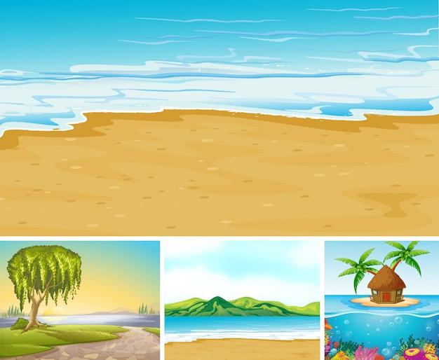 Vier verschillende scène van tropisch strand met zee creater cartoon stijl