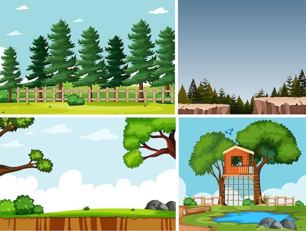 Vier verschillende scènes in cartoonstijl in de natuuromgeving