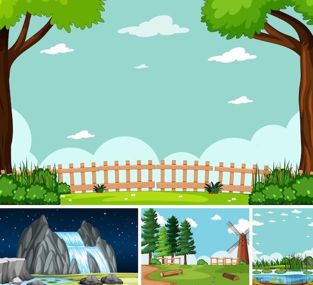 Vier verschillende scènes in de natuur setting cartoon stijl