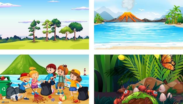 Vier verschillende scènes met stripfiguur voor kinderen