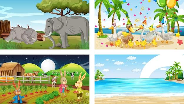Vier verschillende scènes met verschillende stripfiguren van dieren