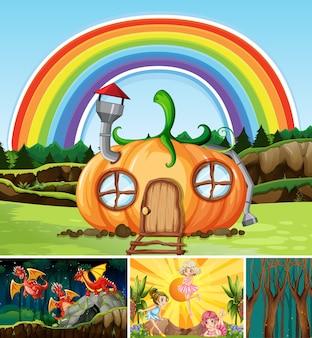 Vier verschillende scènes uit de fantasiewereld met fantasieplaatsen en fantasiekarakters zoals een draak en een pompoenhuis