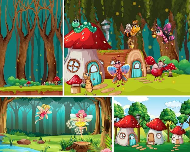 Vier verschillende scènes uit de fantasiewereld met fantasieplaatsen en fantasiekarakters
