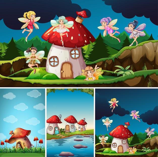 Vier verschillende scènes uit de fantasiewereld met fantasieplekken en fantasiekarakter zoals paddestoeldorp en feeën