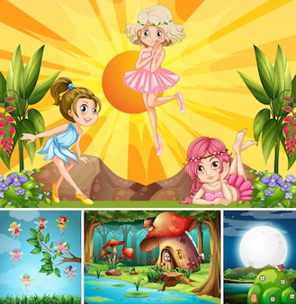 Vier verschillende scènes uit de fantasiewereld met prachtige feeën in het sprookje