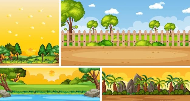 Vier verschillende scènes van de natuur in verticale en horizon-scènes overdag en zonsondergang