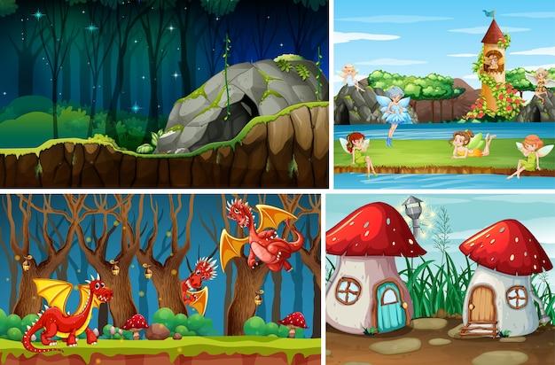 Vier verschillende scènes van een fantasiewereld met fantasieplaatsen en fantasiekarakters zoals draken en feeën