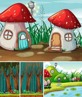 Vier verschillende scènes van fantasiewereld met fantasiedorp en bos bij nachtscène