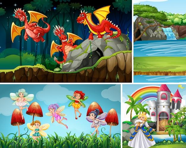 Vier verschillende scènes van fantasiewereld met fantasiekarakters