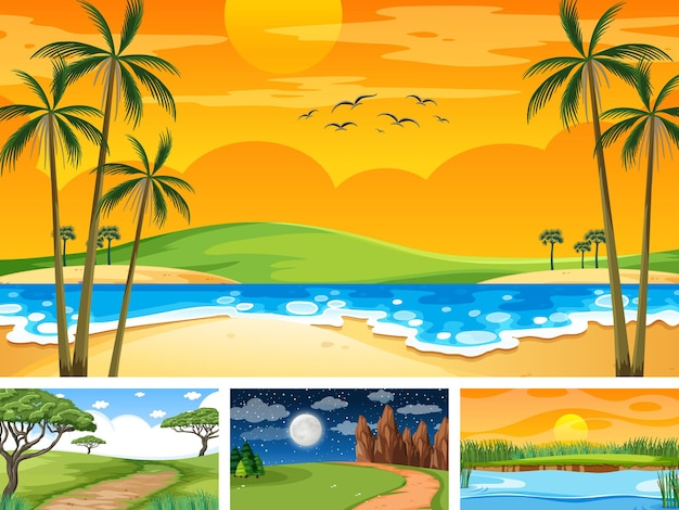 Vier verschillende scènes van natuurpark en bos
