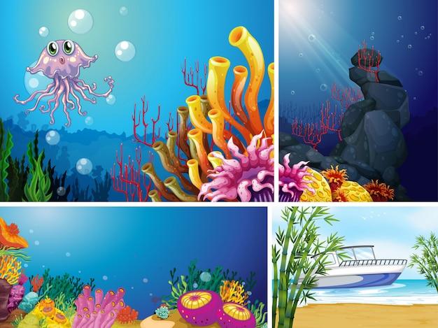 Vier verschillende scènes van tropisch strand en onderwater met zee creater cartoon stijl