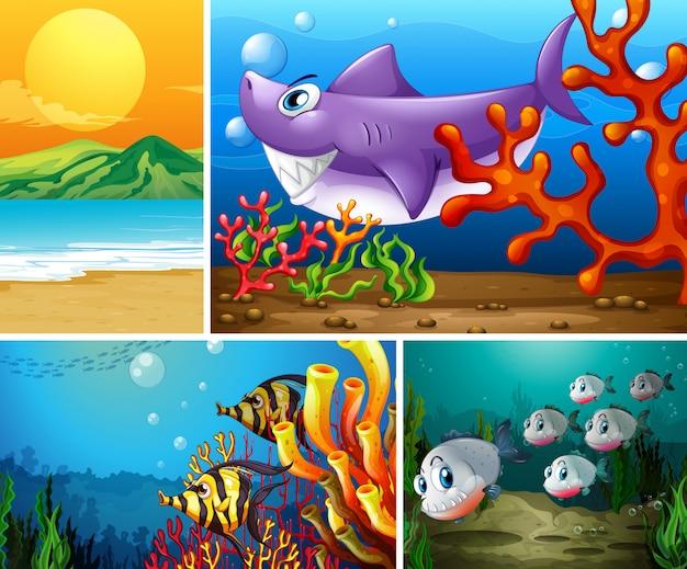 Vier verschillende scènes van tropisch strand en onderwater met zee-creater