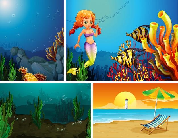 Vier verschillende scènes van tropisch strand en zeemeermin onder water met zee creater cartoon stijl