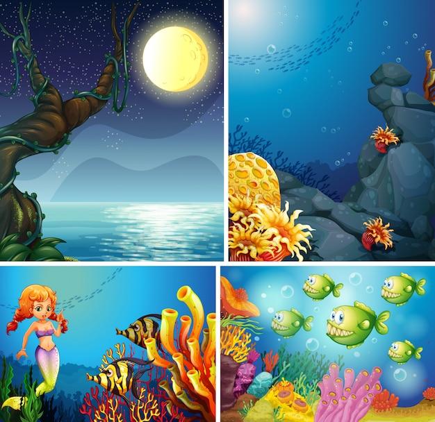 Vier verschillende scènes van tropisch strand 's nachts en zeemeermin onder water met zee creater cartoon stijl