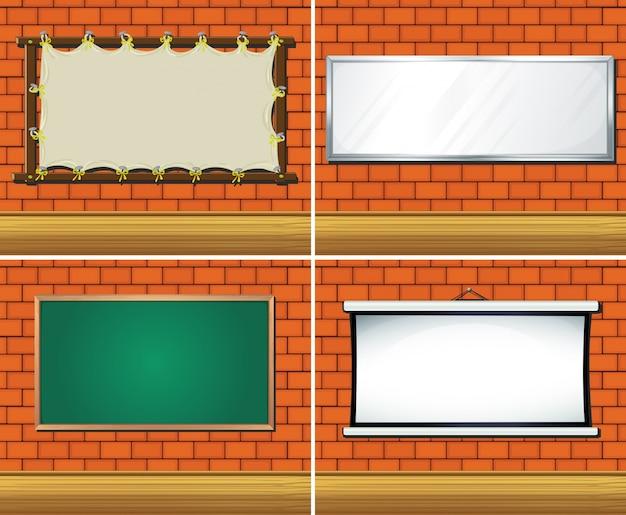 Vier verschillende soorten platen op de muur