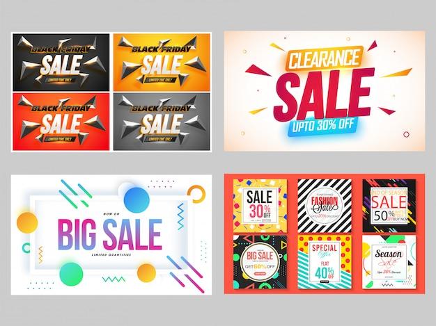 Vier verschillende stijl creatieve mega-verkoop banner of flyer set.