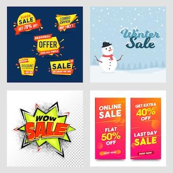 Vier verschillende stijl verkoop banner