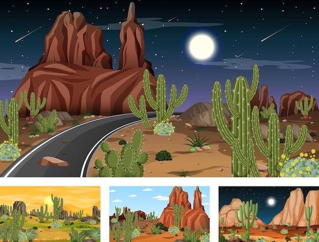 Vier verschillende woestijnlandschapscènes met verschillende woestijnplanten