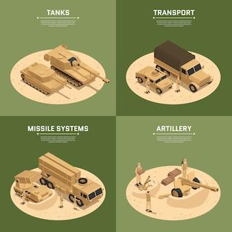 Vier vierkante isometrische pictogramserie van militaire voertuigen