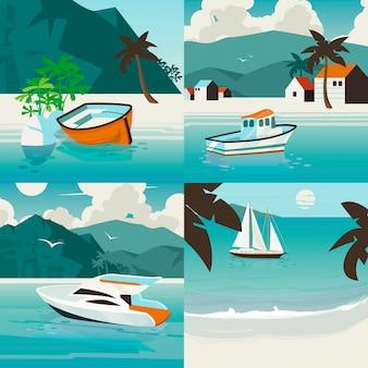 Vier vierkante nautische illustratie set met tropisch paradijs landschap met verschillende zeeschepen. vervoer over water zomer illustratie.