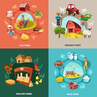 Vier vierkanten boerderij cartoon concept set met eco biologische melk en pluimveebedrijven beschrijvingen illustratie