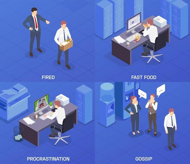 Vier vierkanten isometrische probleemsituaties op het werk met ontslagen fastfood-uitstelgedrag en roddelbeschrijvingen