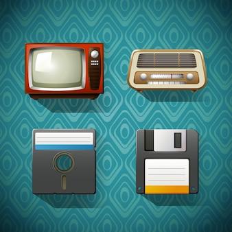 Vier vintage items op blauw