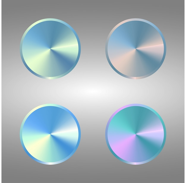 Vier volumeknop. set van metalen blauwe knoppen.